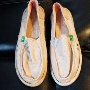Sanuk Pink & Gray Loafers Sz 9 Slip On